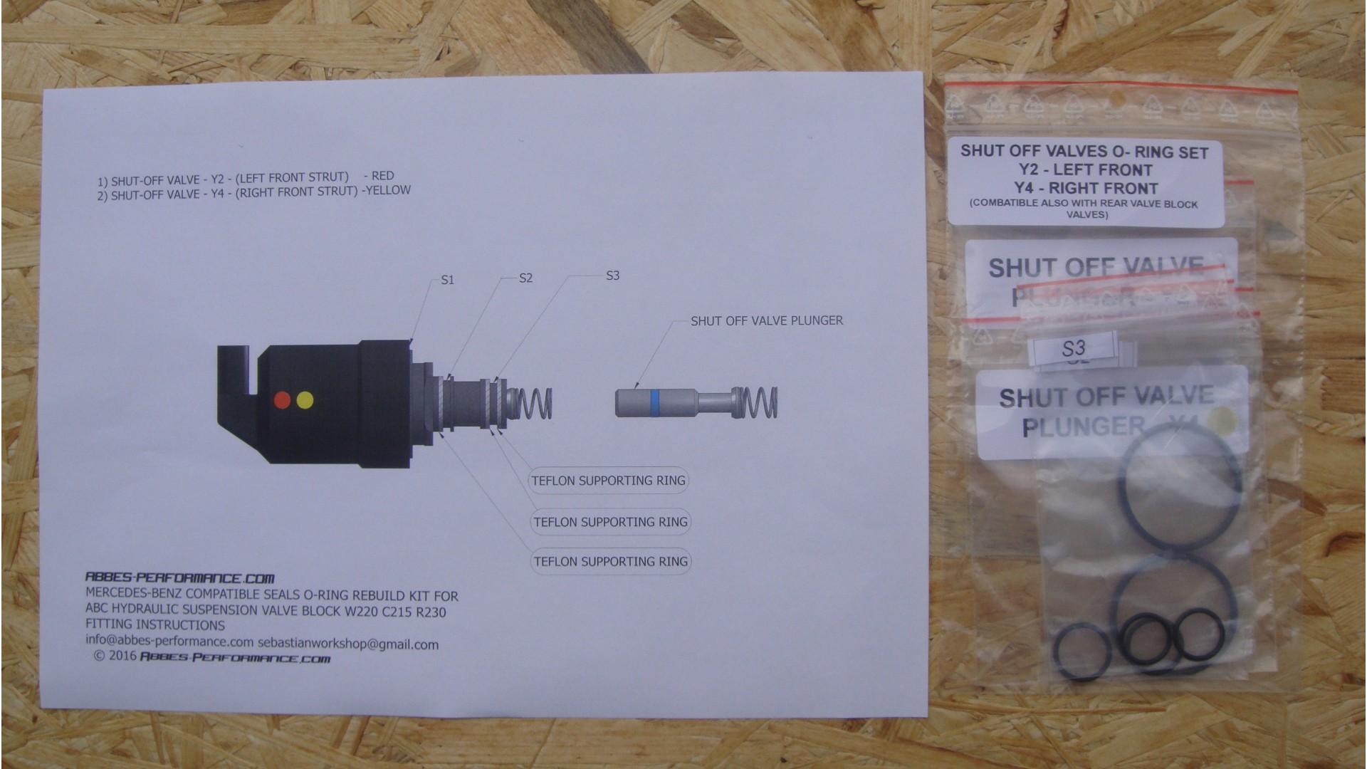 Mercedes-Benz O-ring rebuild kit for ABC valve block W220 C215 R230