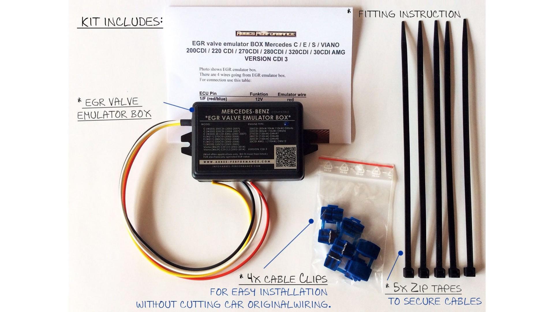 EGR valve emulator BOX Mercedes C / E / S / ML / 220 CDI