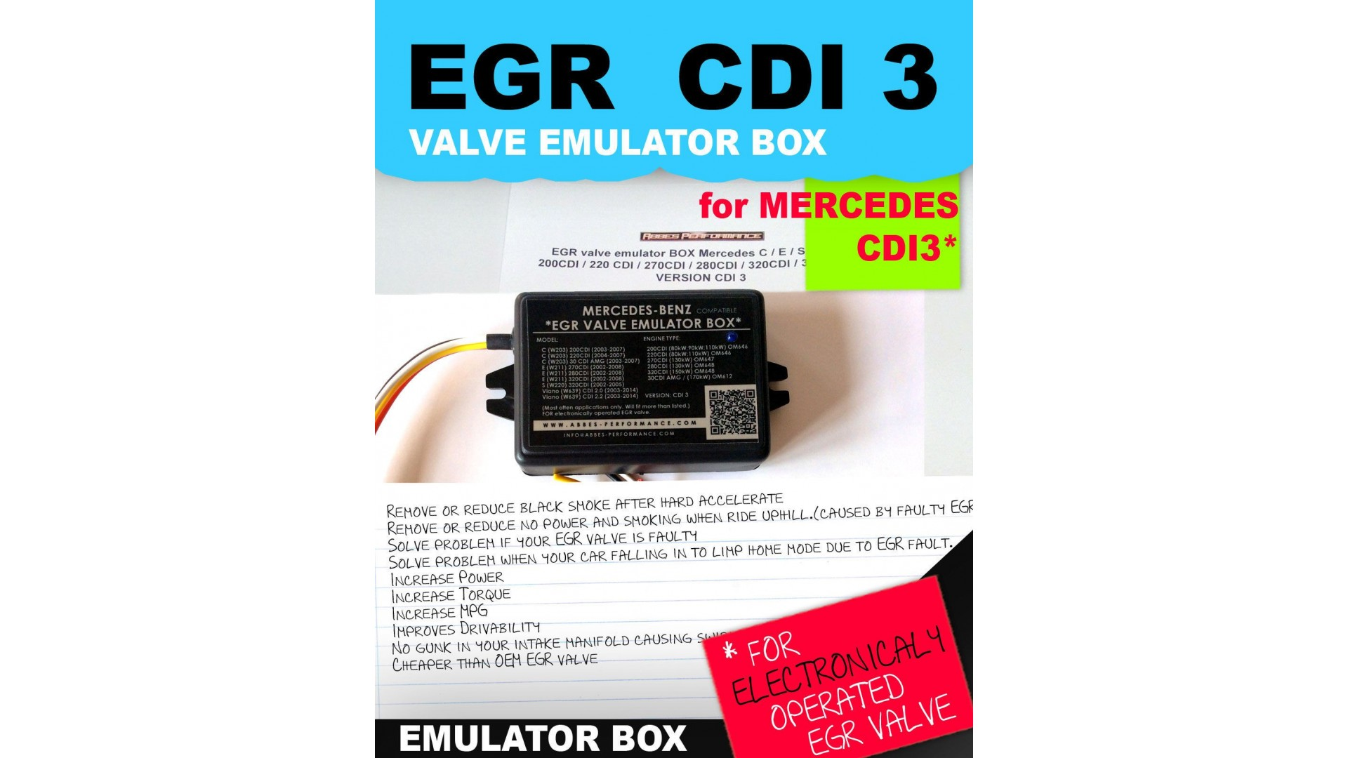 EGR valve emulator BOX Mercedes C / E / S / ML / 220 CDI / 270CDI